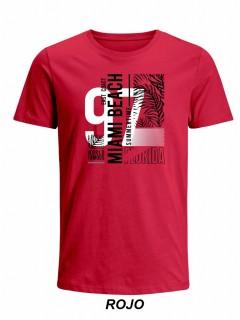 Camiseta para Hombre Tejido de Punto 100% Algodón Peinado Abierto Manga Corta Nexxos 39653-001